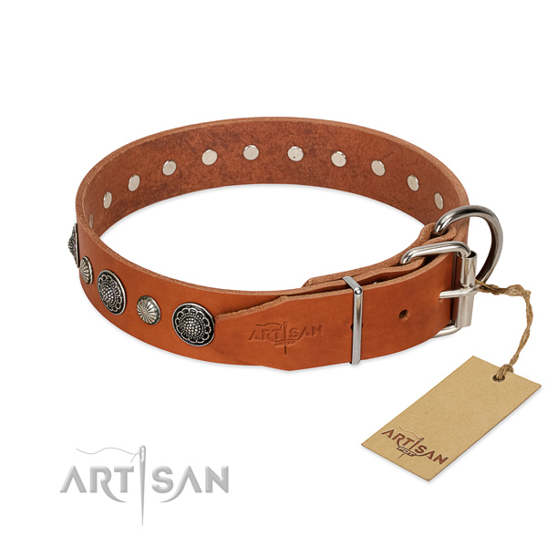 Top notch full grain genuine leather dog collar with corrosion resistant fittings