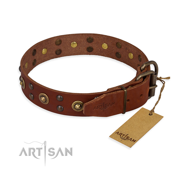 Corrosion resistant D-ring on full grain leather collar for your beautiful dog
