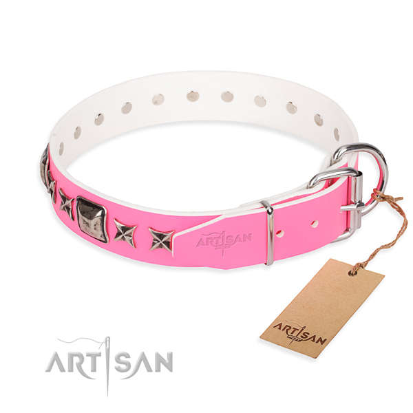 Durable decorated dog collar of natural leather