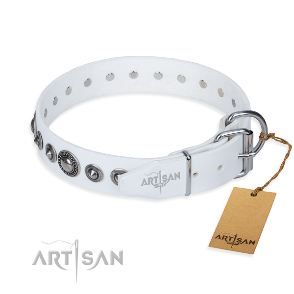 Full grain genuine leather dog collar made of top notch material with durable decorations
