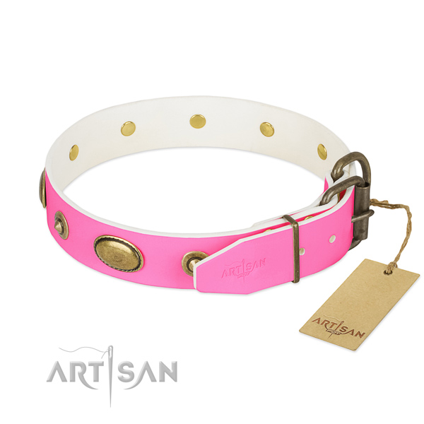 Strong D-ring on full grain leather dog collar for your pet