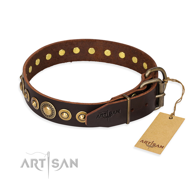Quality leather dog collar created for handy use