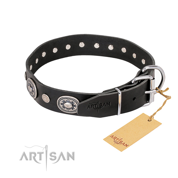 Top notch full grain genuine leather dog collar created for daily walking