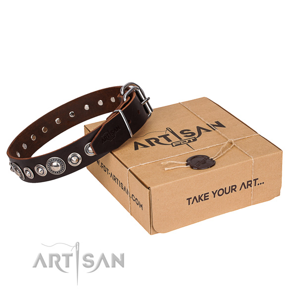 Full grain leather dog collar made of top rate material with corrosion proof fittings