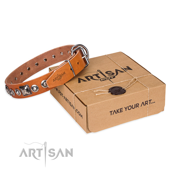 Full grain natural leather dog collar made of quality material with strong hardware