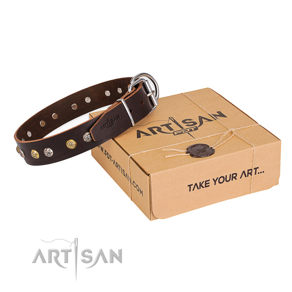 Best quality natural genuine leather dog collar made for walking