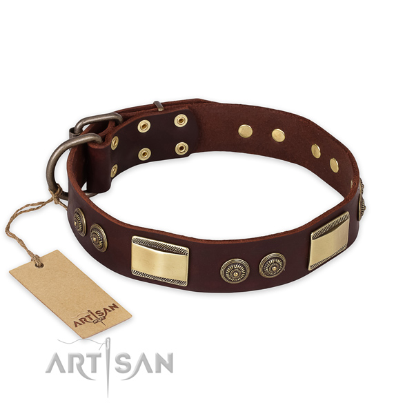 Fashionable full grain genuine leather dog collar for easy wearing
