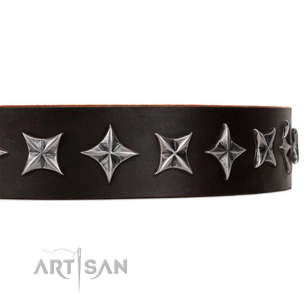 Comfortable wearing adorned dog collar of high quality leather