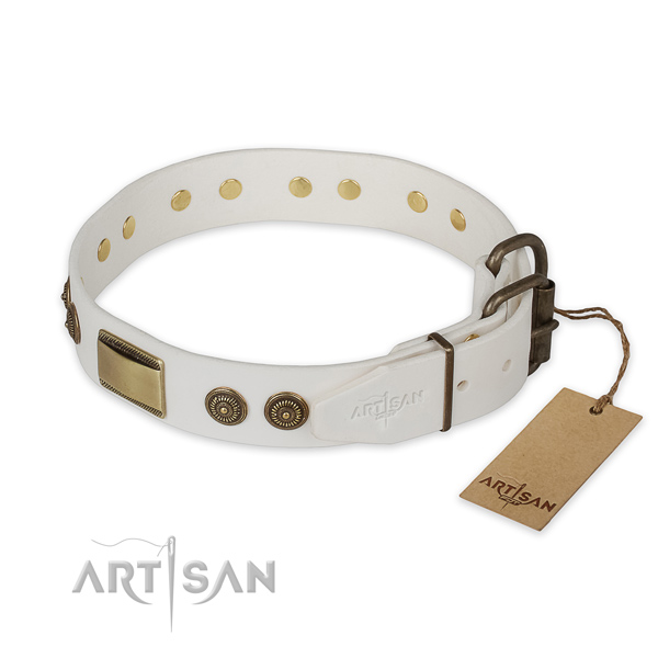 Durable fittings on genuine leather collar for daily walking your dog