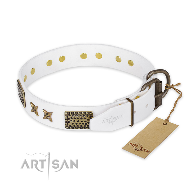 Reliable traditional buckle on full grain genuine leather collar for your lovely pet
