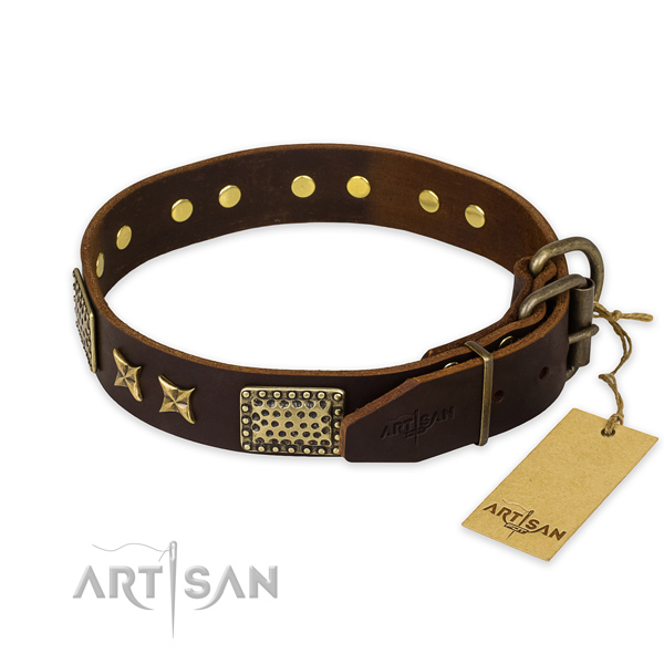Corrosion proof fittings on genuine leather collar for your attractive dog