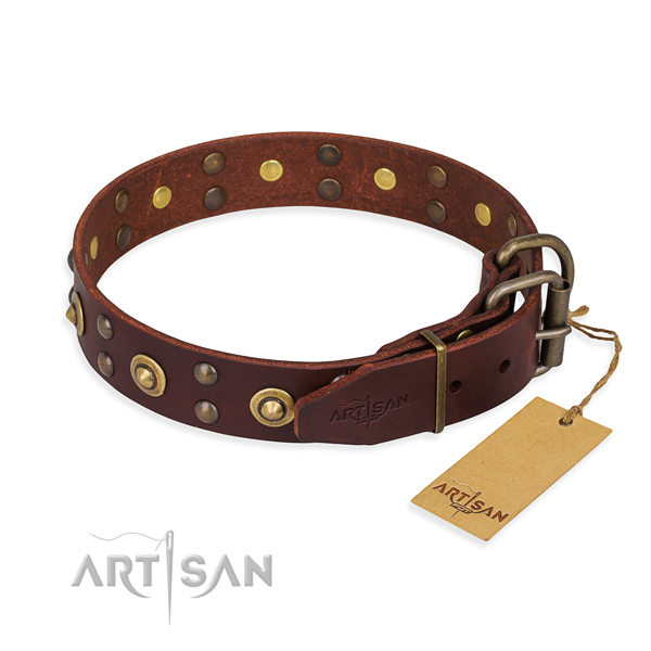 Corrosion proof fittings on genuine leather collar for your stylish canine