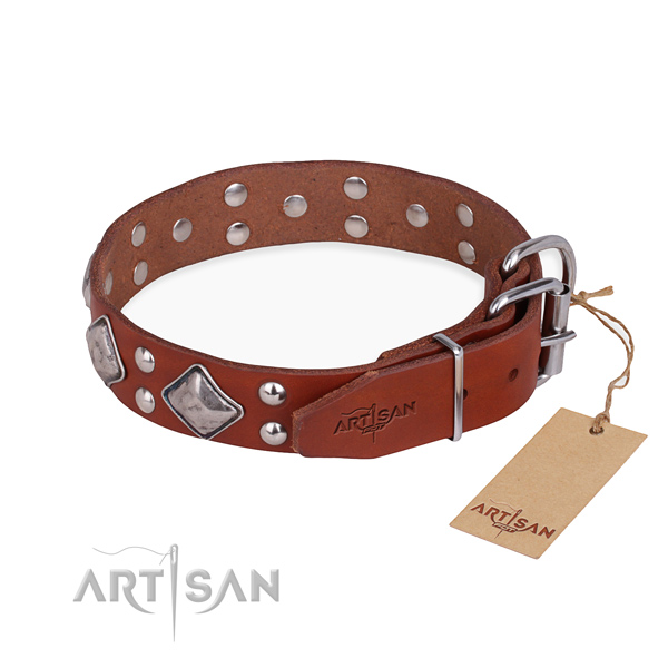 Full grain leather dog collar with awesome reliable decorations