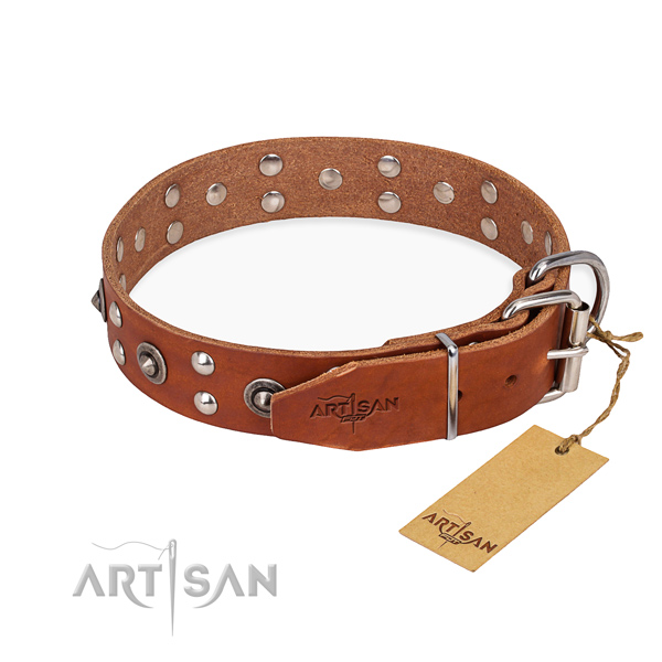 Corrosion proof hardware on genuine leather collar for your beautiful canine