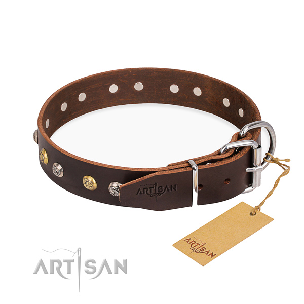 Top notch full grain leather dog collar made for basic training