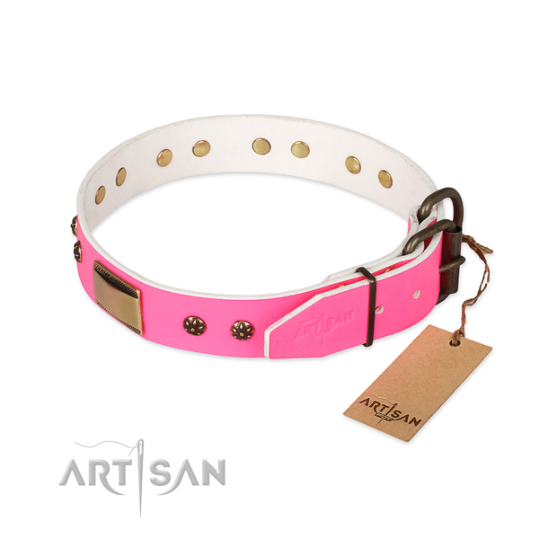 Natural genuine leather dog collar with strong D-ring and embellishments
