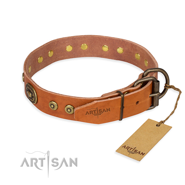 Natural genuine leather dog collar made of top rate material with rust-proof studs
