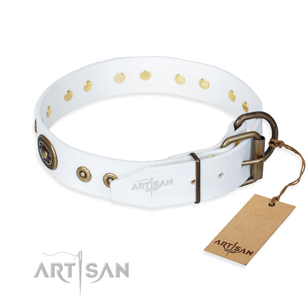 Leather dog collar made of high quality material with corrosion resistant decorations