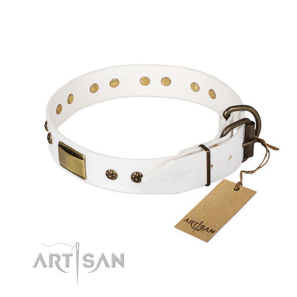 Full grain genuine leather dog collar with corrosion resistant traditional buckle and embellishments