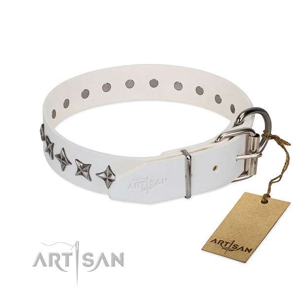 Quality full grain genuine leather dog collar with inimitable embellishments