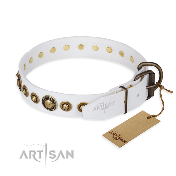 High quality full grain leather dog collar handmade for easy wearing