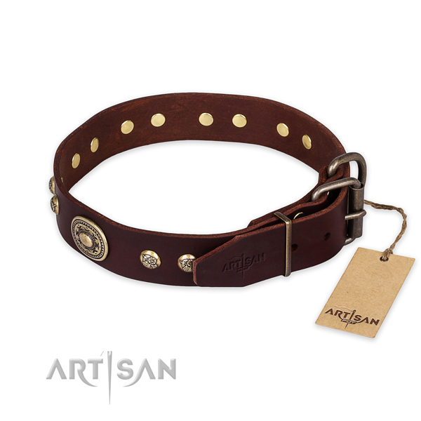 Durable D-ring on full grain genuine leather collar for everyday walking your dog