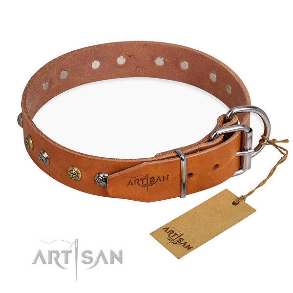 Reliable full grain genuine leather dog collar made for fancy walking