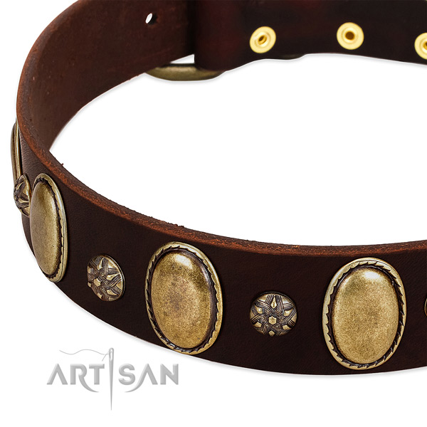 Comfy wearing top rate full grain natural leather dog collar