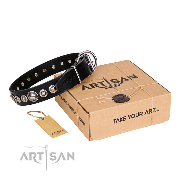 Best quality full grain leather dog collar
