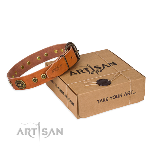 Leather dog collar made of quality material with corrosion proof D-ring
