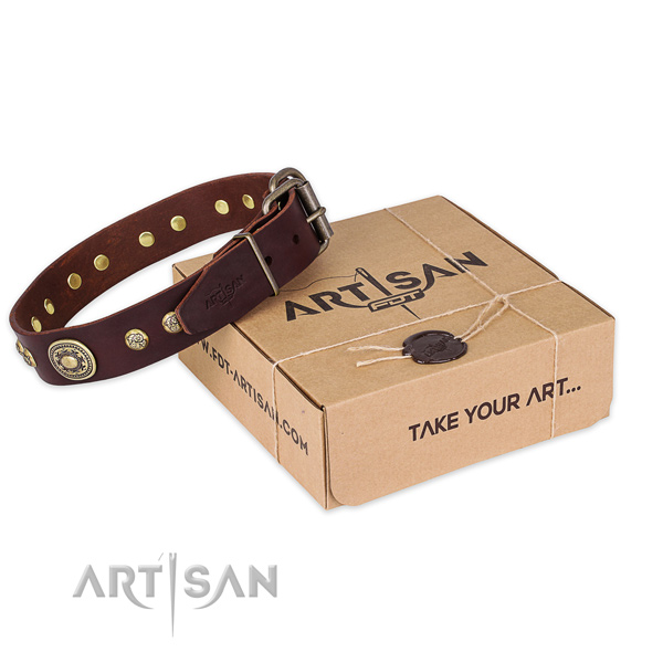 Strong hardware on natural leather dog collar for comfy wearing