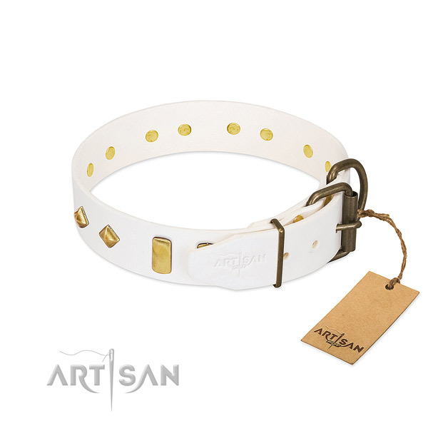 Soft natural leather dog collar with corrosion proof hardware