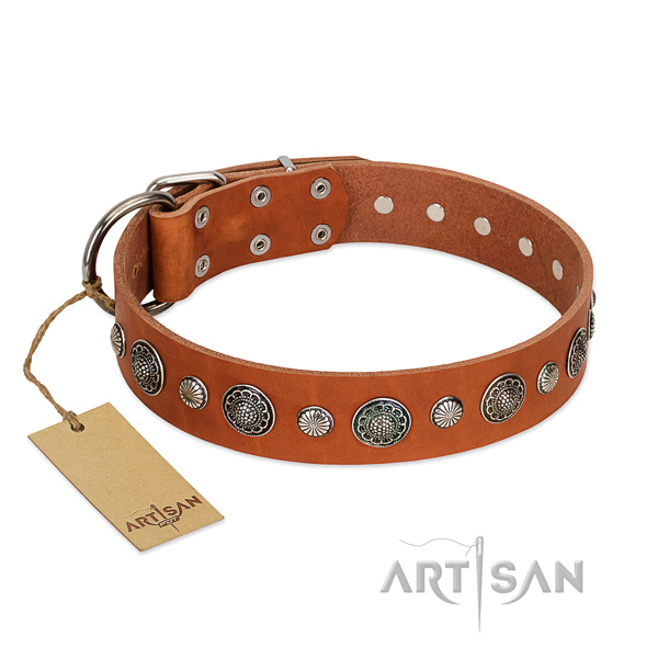 Soft full grain genuine leather dog collar with corrosion resistant D-ring