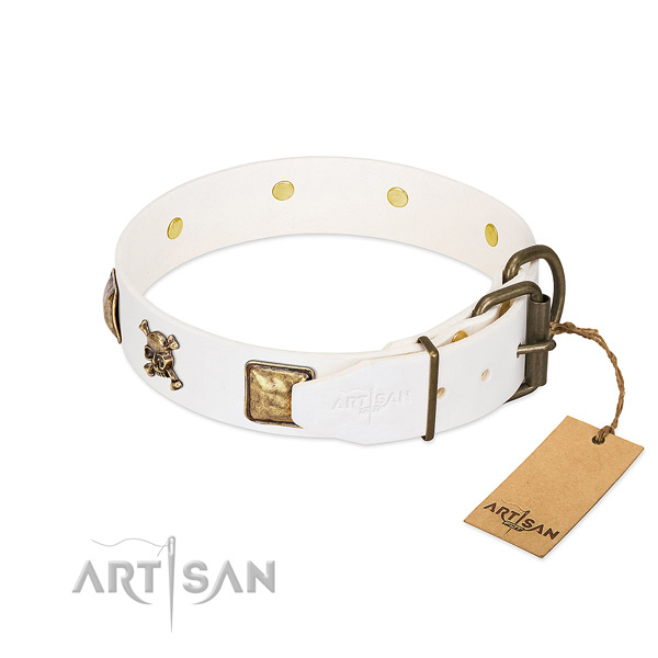 Stunning full grain natural leather dog collar with rust-proof decorations