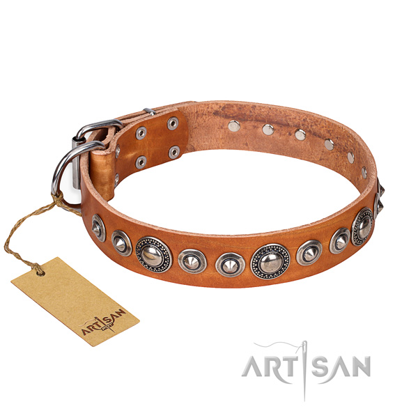 Natural genuine leather dog collar made of high quality material with rust resistant traditional buckle