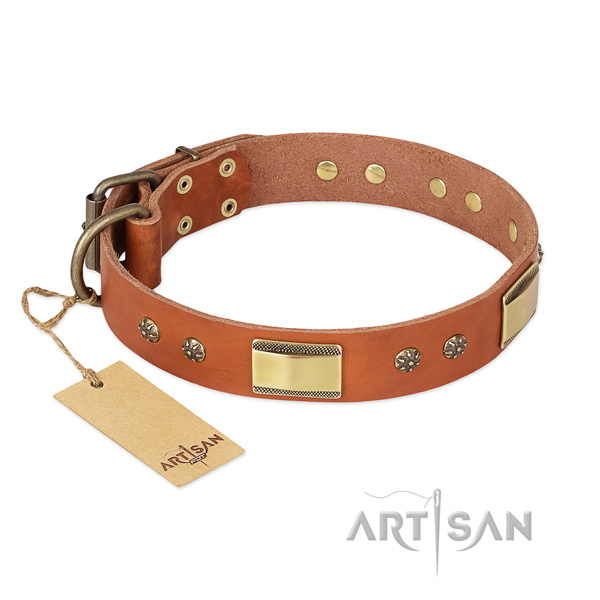 Easy adjustable full grain genuine leather collar for your canine
