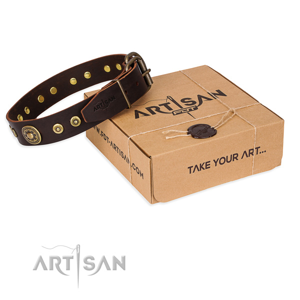Natural genuine leather dog collar made of best quality material with rust-proof D-ring