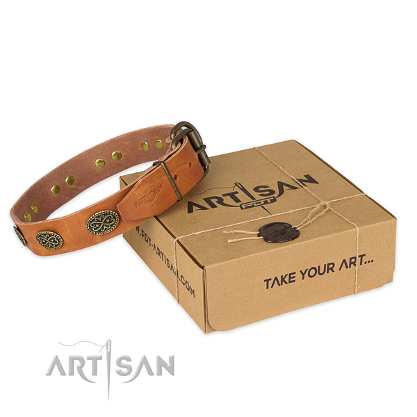Reliable buckle on full grain natural leather collar for your impressive doggie