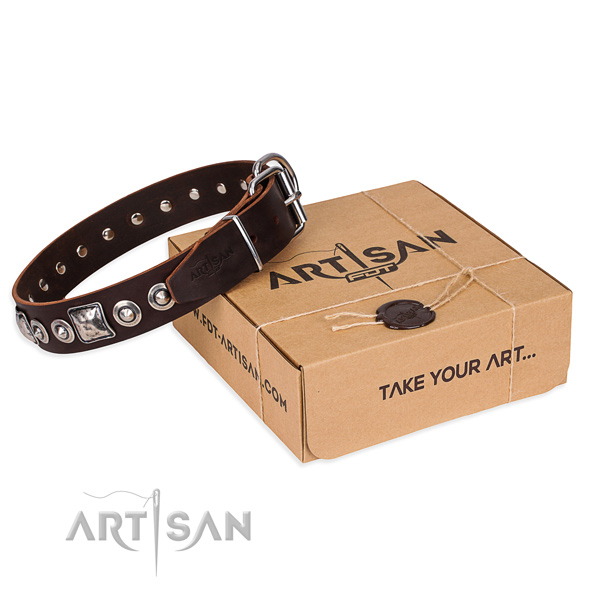 Natural genuine leather dog collar made of top notch material with reliable hardware