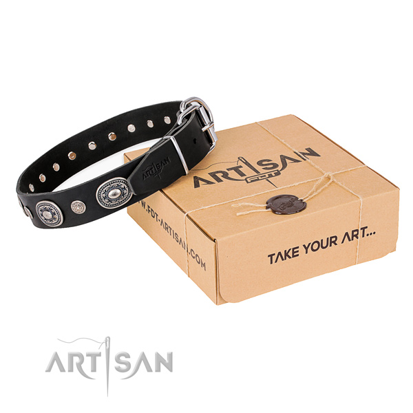 Soft leather dog collar handcrafted for walking