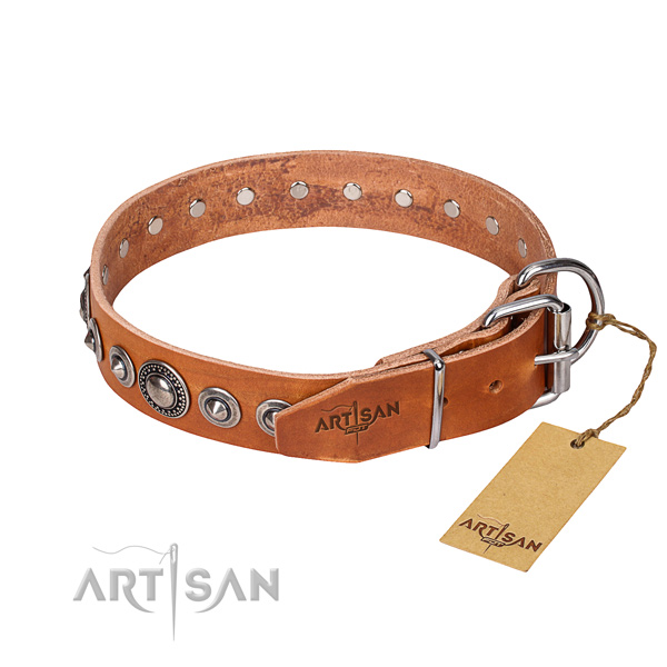 Full grain natural leather dog collar made of soft material with corrosion proof studs