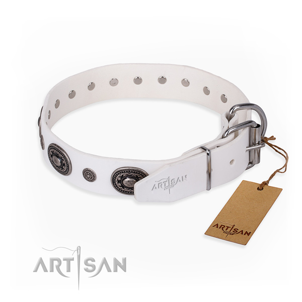 Soft to touch leather dog collar made for comfy wearing