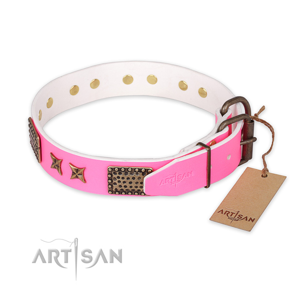 Corrosion proof fittings on full grain natural leather collar for your lovely canine