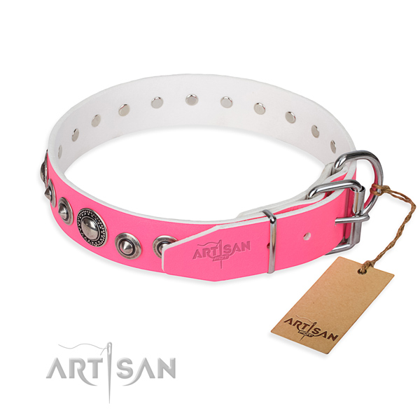 Full grain natural leather dog collar made of high quality material with strong adornments