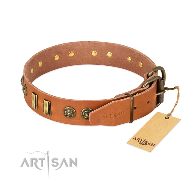 Durable D-ring on full grain leather dog collar for your dog