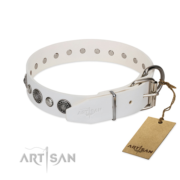 Best quality genuine leather dog collar with corrosion resistant fittings