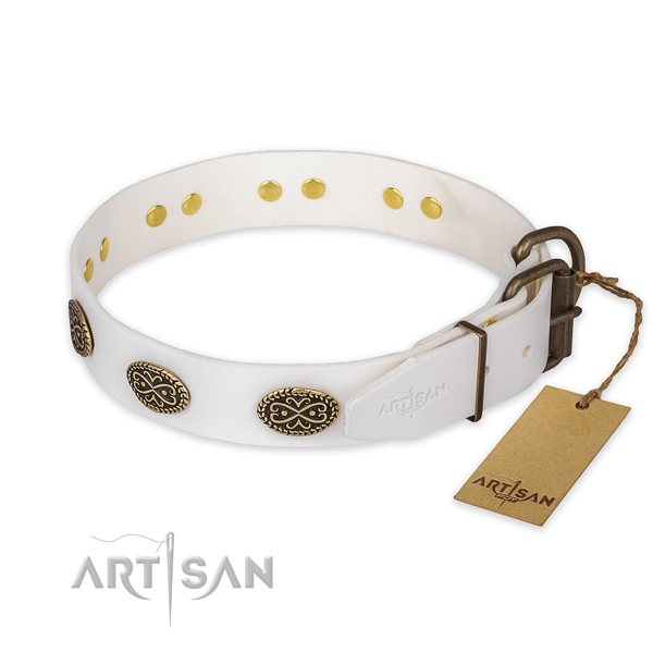 Corrosion resistant hardware on full grain leather collar for walking your doggie