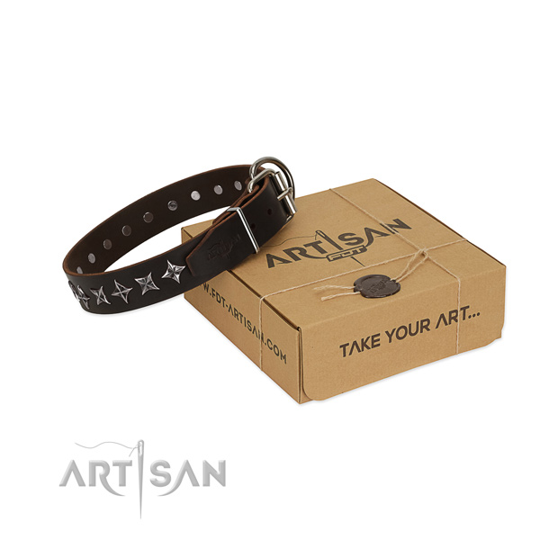 Basic training dog collar of reliable full grain genuine leather with decorations