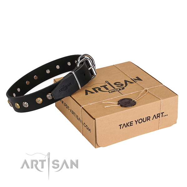 Reliable natural genuine leather dog collar handmade for daily walking