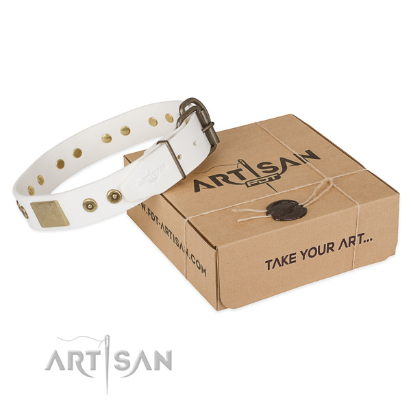 Easy to adjust natural leather collar for your handsome canine
